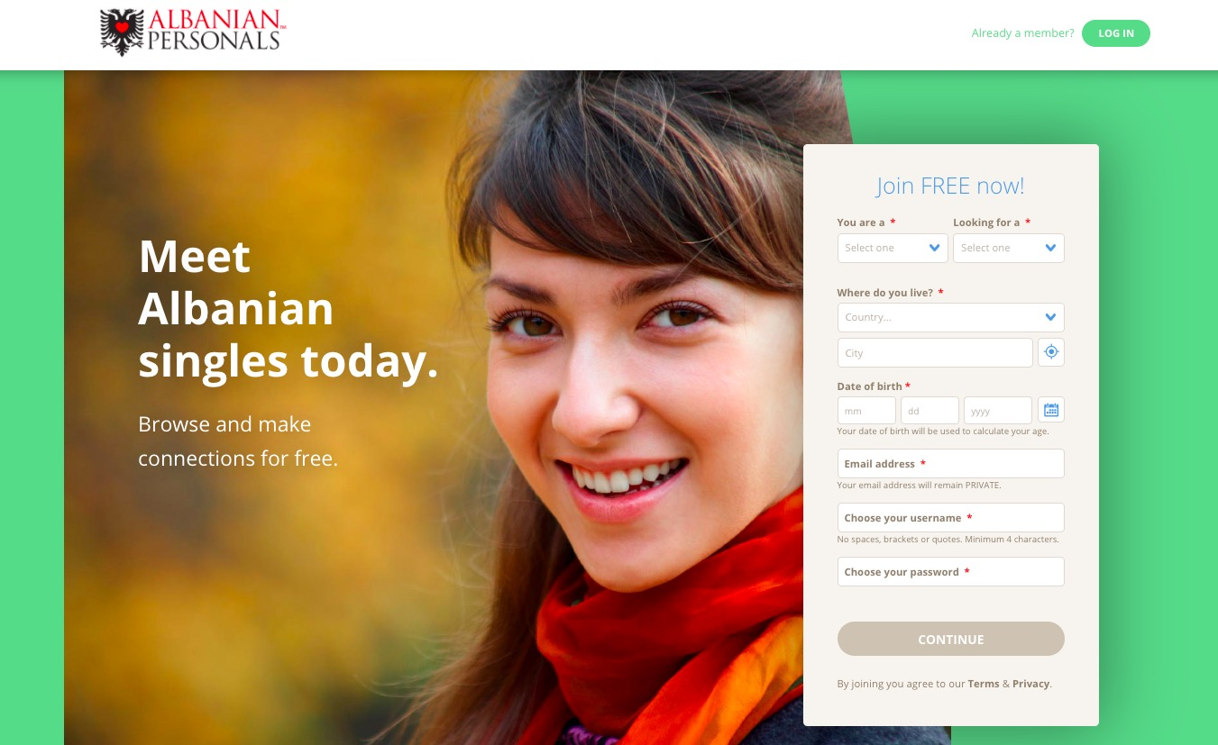 AlbanianPersonals main page