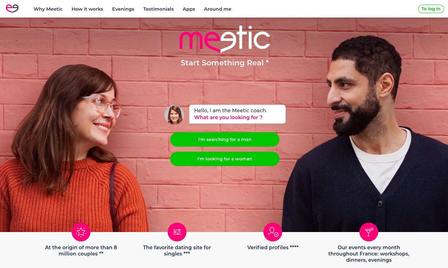 Meetic main page